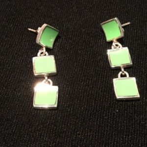 925 silver earrings w. greenish turquoise squares